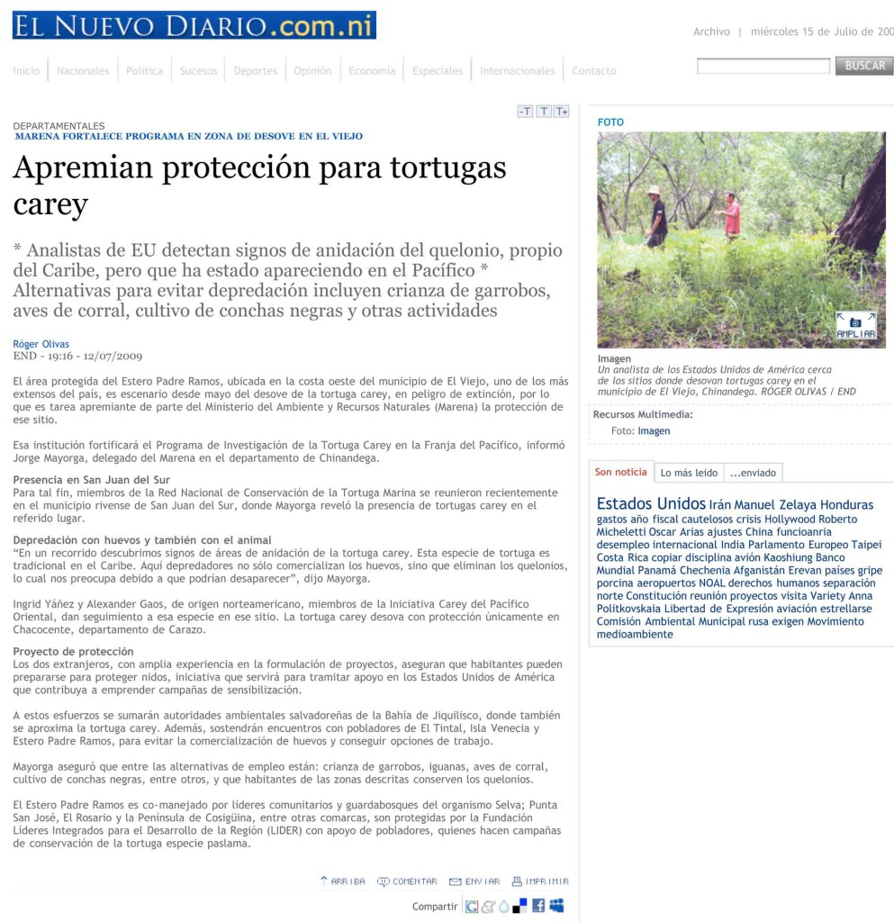 Protection for hawksbill site in Nicaragua.com